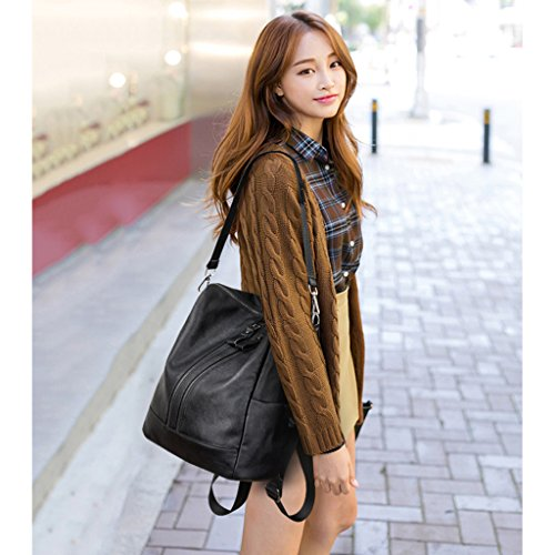 GUO - Borsa a tracolla femmina in pelle morbida versione coreana della borsa personalità moda borsa 2017 nuova marea di viaggio zaino da viaggio (cinghie spalle: regolabile) (33 * 18 * 36cm) (nero)