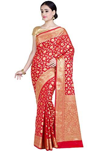 (Chandrakala Women's Red Kataan Silk Blend Banarasi Saree,Free Size(1282RED))