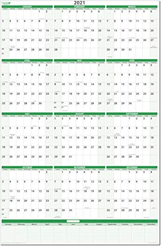 (Earth Green 2021 Vertical Erasable Wall Planner 32 in. Wide x 48 in. Tall GR-MA)
