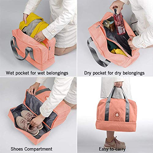 LOMAO Sports Bag Gym Bag with Shoes Compartment Hiking Travel Luggage Bag for Men and Women (Orange Pink)