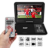 "AOZBZ Portable DVD Player with 9"" Swivel Screen Rechargeable Battery, Support TV & FM Radio Fuction and Game Console, SD Card Reader and USB Port"