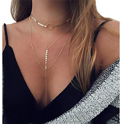 MayFee Women Sexy Sequins Choker Necklace Multilayer Long Chain Necklace Jewelry, Gold