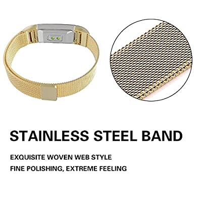 """Sunshine Fitbit Charge 2 Band, Milanese Loop Stainless Steel Metal Bracelet Strap with Unique Magnet Lock, Needed for Fitbit Charge 2 HR Fitness Tracker (gold, Large Size: 6.5""""-9"""")"""