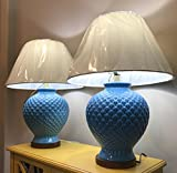 Pair of Two Ralph Lauren Large Blue Pineapple Porcelain Ceramic Traditional Table Lamp with Silk Shades