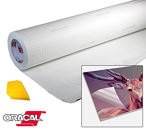 ORACAL High Gloss Self-Adhesive Clear Lamination Vinyl Roll for Die-Cutter and Plotter Machines Including Yellow Detailer Squeegee (17.9