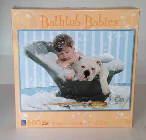 500 Piece Bathtub Babies Puzzle Baby, Bull Dog & Bubbles 500 Piece Tub