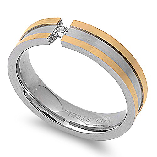 (Round Tension Set Cubic Zirconia Striped Band Ring Two Tone Stainless Steel Size 12)