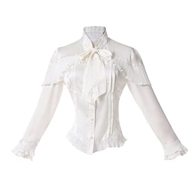699af0f5f40a7 Amazon.com  Women s Lace Bow Tie Lolita Blouse Stand-up Collar Victorian  Gothic Shirt Vintage Long Sleeve Cosplay Costume Tops White  Clothing