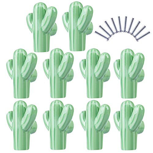 Best Quality - Cabinet Pulls - 10pcs Children Cactus Shape Ceramic Door Knob Furniture Handle Drawer Cupboard Kitchen Pull Handle - Light Green - by HIBISCUS. - 1 PCs