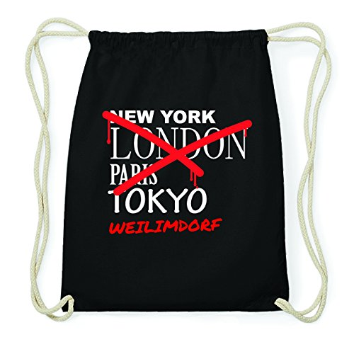 JOllify WEILIMDORF Hipster Turnbeutel Tasche Rucksack aus Baumwolle - Farbe: schwarz Design: Grafitti