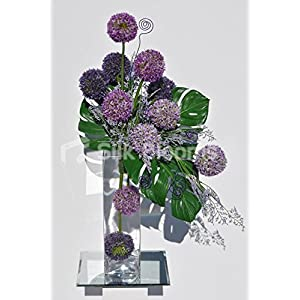 Beautiful Artificial Purple Allium and Green Leaf Floral Table Display w/ Wire Detailing 15