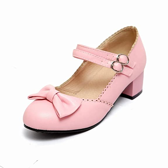 Latasa Women's Lolita Sweet Cute Bow Buckles Round-toe Chunky Low-heel Mary Jandes Shoes (8.5, Pink)