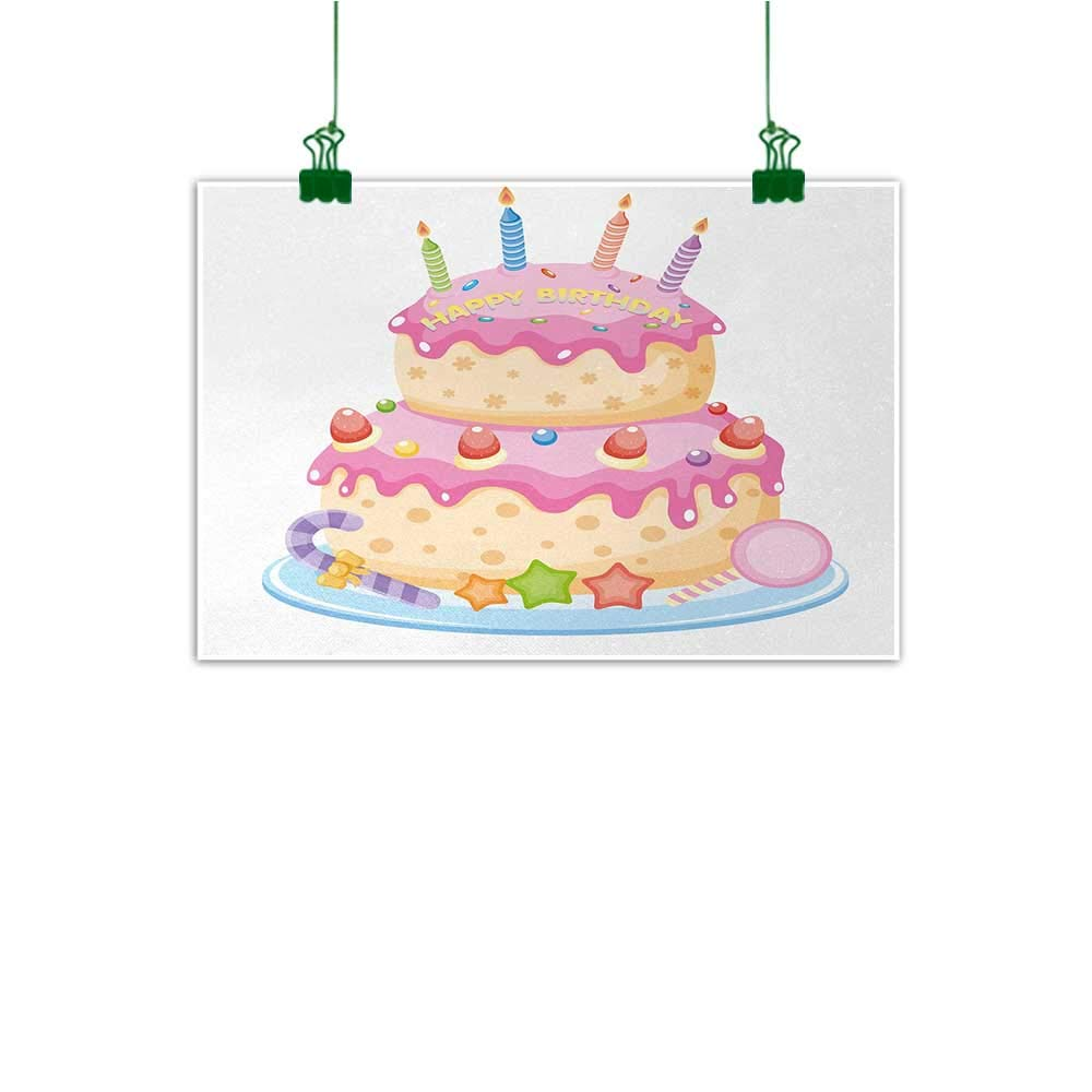 "Unpremoon Kids Birthday Canvas Prints Artwork Pastel Colored Birthday Party Cake with Candles and Candies Celebration Image Wall Canvas Painting Light Pink W 40"" x L 32"""