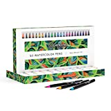 Watercolor Brush Pens by Genuine Crafts - Set of 50 Premium Colors - Real Brush Tips - No Mess Storage Case -...
