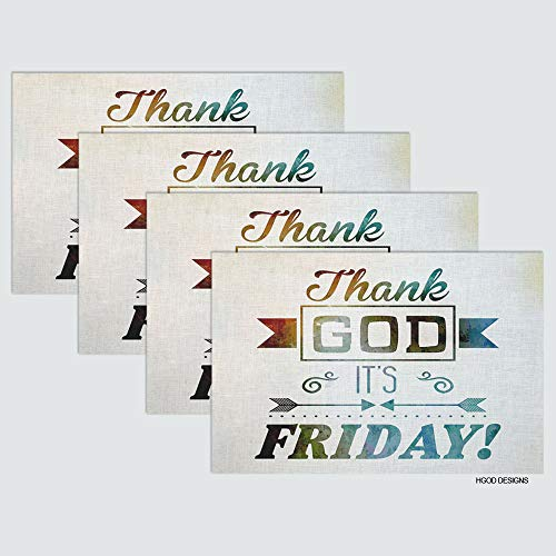 (HGOD DESIGNS Quote Place Mat Set of 4,Thank God It's Friday Table Placemats Cotton Linen for Dining Table Kitchen Table Placemat 12