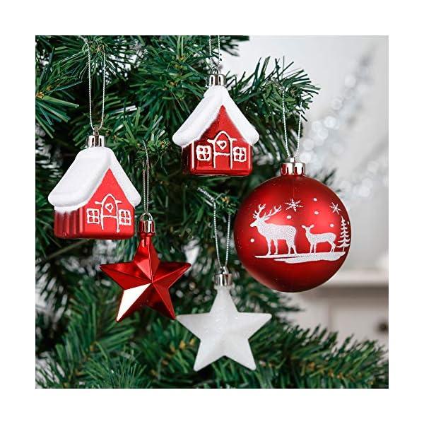 Valery Madelyn Palle di Natale 50 Pezzi di Palline di Natale, 3-5 cm Decorazione Tradizionale Rossa e Bianca Infrangibile con Palle di Natale per la Decorazione Dell'Albero di Natale 6 spesavip