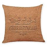 Linen Blend Pgojuni Christmas Emboss Printing Throw Pillow Cover Cushion Cover Pillow Case Home Decor 1pc (45cm X 45cm) (D)