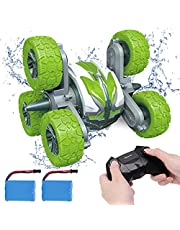 KaeKid 6WD Remote Control Stunt Car for Boys 8-12, Amphibious RC Cars with 2.4GHz High-Speed Double Sided 360° Rotating Off-Road, Waterproof RC Boat with 2 Batteries for 6 Years Old Kids Boys Girls