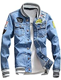 Men Denim Jacket With Patches Light Blue 3XL