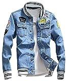LifeHe Men Denim Jacket With Patches Light Blue 3XL (M, Light Blue)