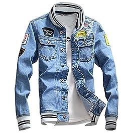 LifeHe Men Denim Jacket With Patches, Light Blue