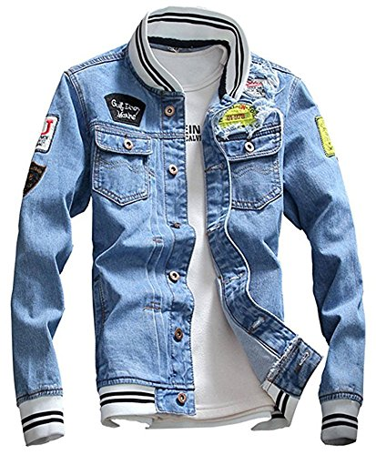 LifeHe Men Denim Jacket With Patches Light Blue 3XL (M, Light Blue) by LifeHe
