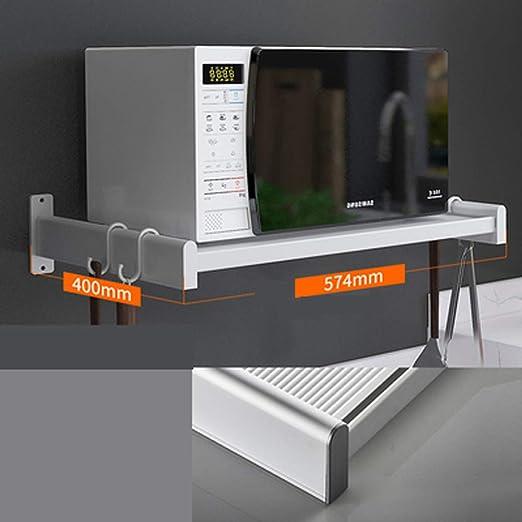 QKUANG Espacio Aluminio Estante para microondas Rejilla Soporte de Horno de Pared de una Sola Capa de Pared Estante de Almacenamiento de Cocina Blanco: Amazon.es: Hogar