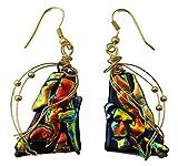 Renata Glass Drop Earrings golden Red,Multi Colors, Gold Plate Fishhooks, Design