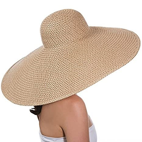 bf5fe5c87541c Amazon.com  Eric Javits Luxury Women s Designer Headwear Hat - Giant Floppy  - Peanut  Clothing