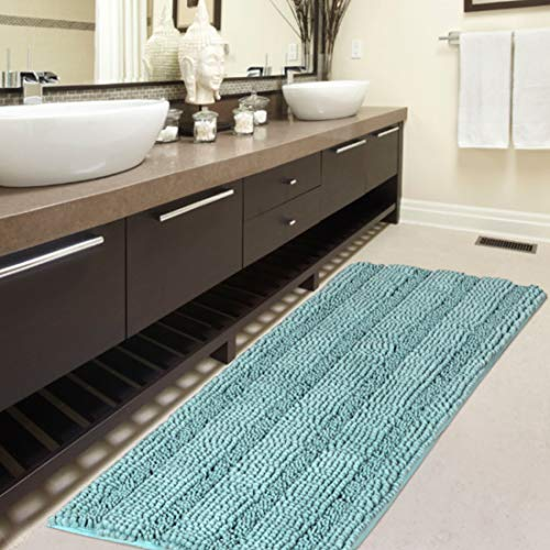 Slip-Resistant Washable Striped Large Shaggy Bath Mat Extra Soft and Absorbent Indoor Bath Mat Runners for Bathrooms with Non-Slip Backing 1 Pack, 47 inch by 17 inch – Duck Egg Shell Blue
