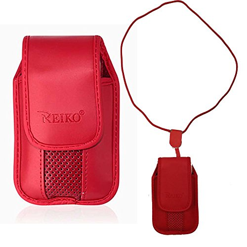 Red Around The Neck Hanging Lanyard Magnetic Top Case fits Great Call Alcatel Jitterbug FLIP Phone