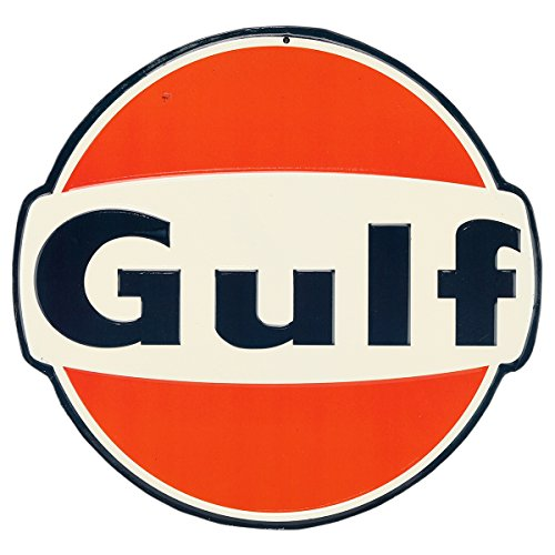 Tin Collectible Container Decorative - Open Road Brands Gulf Oil Embossed Tin Sign