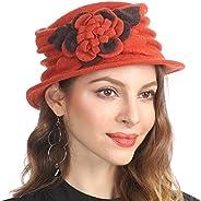 Jazmiu Women French Beret 100% Wool Beanie Hat Winter Warm Hats C020
