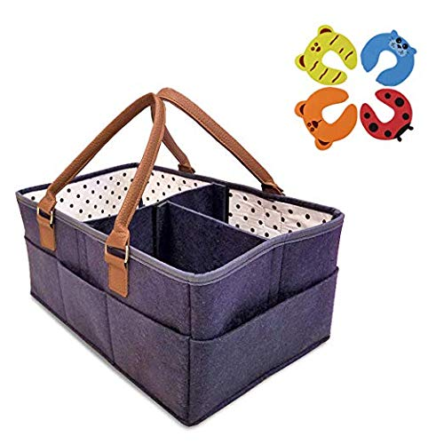 (LittleCloud Baby Diaper Caddy Organizer Comfy Carry Nursery Bin - Unisex Portable Newborn Essentials Changing Table Cotton Canvas Nappy Holder Storage Bag Basket Travel Tote Boy Girl Baby Shower)