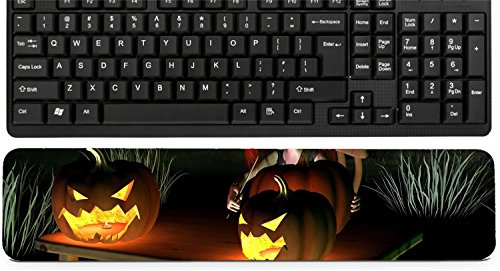 Liili Keyboard Wrist Rest Pad Long Extended Arm Supported Mousepad IMAGE ID 32913908 Little goblin carving spooky Halloween pumpkin lanterns with dark Halloween background 3d -