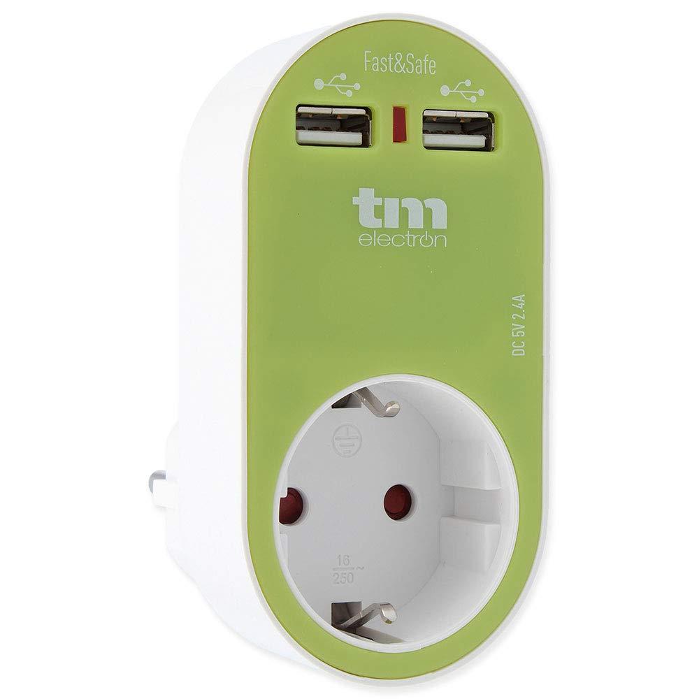 color verde Adaptador de corriente cargador con una toma de enchufe y 2 tomas USB TM Electron TMUAD114G