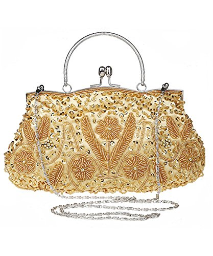 iToolai Satin Purse Evening Handbags Wedding Bag Beaded Sequins Clutch (Gold)