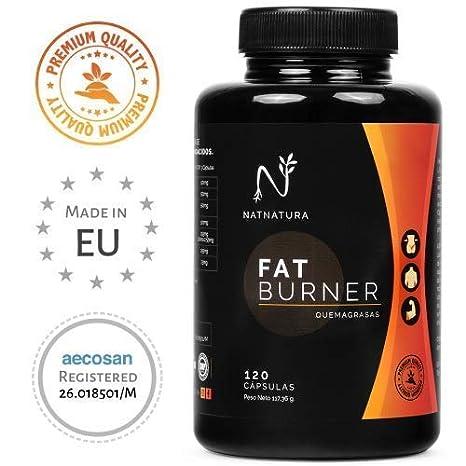 FAT BURNER Nº1. Potente quemagrasas natural alto rendimiento. Termogénico para adelgazar. Suplemento deportivo, quema grasa abdominal, supresor del apetito.