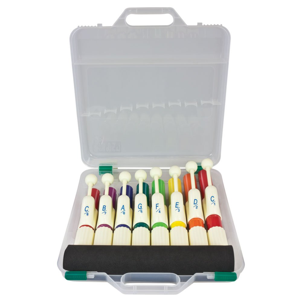 Percussion Workshop KB15 Set of 8 Coloured Hand Chimes with Case by Percussion Workshop