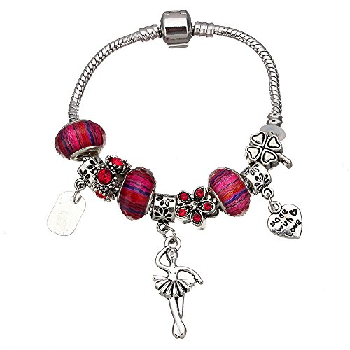 European Zinc Alloy Barrel Snap Clasp Charm Bracelet Fully Beaded with Assorted Glass, Metal, and Crystals & Ballerina for Women & Girls (Choose your Color & Style) All Size 7 inch (Red)