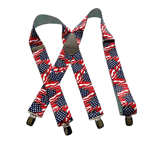 Holdup Suspender Companys Old Glory Flag Pattern 2 Wide X-Back Suspenders with Patented No-slip Silver Clips
