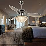 Cheap RainierLight Modern 48 Inch Crystal Ceiling Fan Lamp LED 3 Color Changing Light 3 Wood Reversible Blades with Remote Control for Living Room/Bedroom /Quiet/Decoration