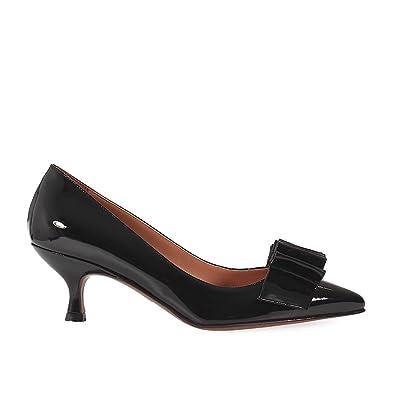L'autre Chose Escarpins Femme En Verni Noir Avec Noeud Noir - Chaussures Escarpins Femme