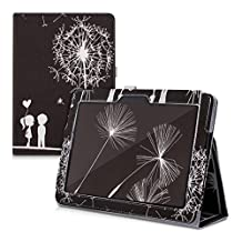 kwmobile Chic synthetic leather case for the Asus Memo Pad 10 ME103K in white black convenient stand function and Design dandelion love