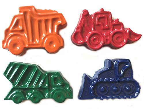 MinifigFans 48 Construction Vehicle Crayons - Birthday Party Favors - 12 Sets of 4 Crayons - Made in The -