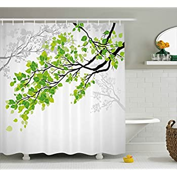Ambesonne Nature Decor Shower Curtain By Twiggy Spring Tree Branch With Refreshing Leaves Summer Peace