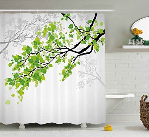 Ambesonne Nature Decor Shower Curtain by, Twiggy Spring Tree