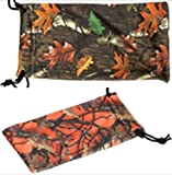 2 Camouflage Sunglasses Eyeglasses Gadgets Cleaning & Storage Pouches - Dark Green and Orange