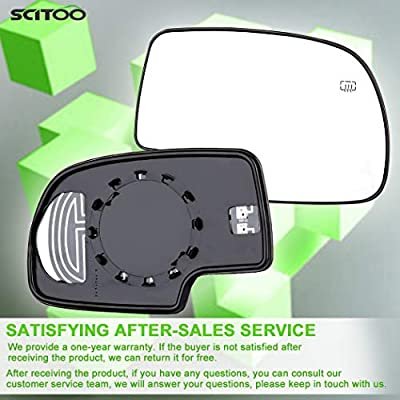SCITOO Exterior Mirror Replacement Glass,fit Chevy Exterior Accessories Mirrors Glass fit 03-07 Chevy GMC Silverado Sierra 1500/2500 HD/3500 Classic Models with Power Heated (Passenger Side): Automotive