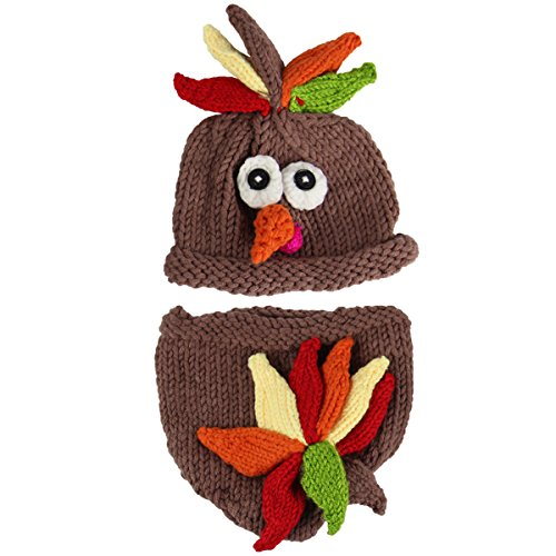 Jastore Photography Prop Baby Infant Costume Turkey Crochet Knitted Hat Diaper ()